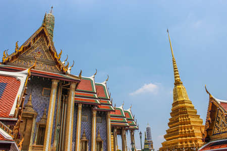 Wat Phra Kaew, Tempio del Buddha di Smeraldo, Bangkok, Thailandia. Archivio Fotografico
