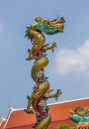 Beautiful dragon with blue sky in the temple. Stock Photo