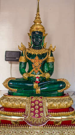 Beautiful green Buddha in the temple, Thailand
