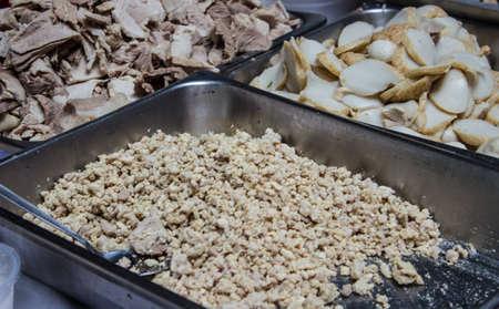 Pork and pork cut ingredients used in cooking.