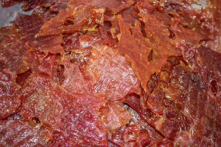 Sweet Barbecued Pork.Sliced sheets of dried and crispy pork