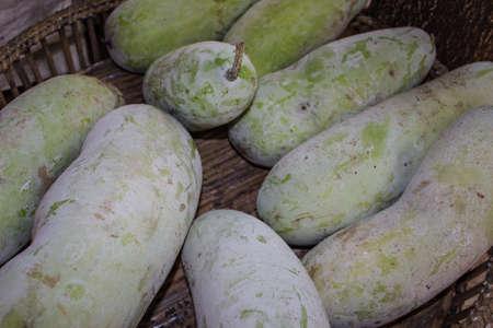 Zucca invernale fresco o butternut squash in mostra presso il mercato degli agricoltori Archivio Fotografico