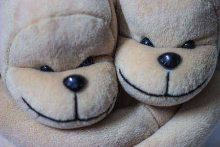 Two-stuffed brown monkey hug. monkey doll