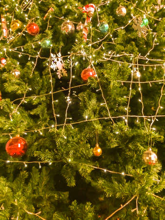 christmas tree with ball.Christmas decorations abstract background
