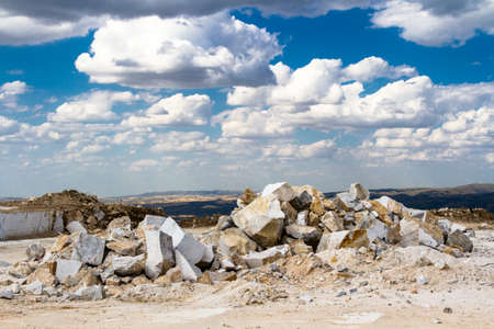 Marble quarry in Kazakhstan, white marble, view. Equipment for mining marble