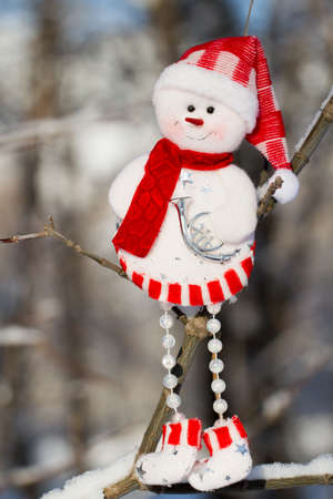 scarf beach: one cheerful snowman in hat and red scarf hanging on a branch, Santa Claus