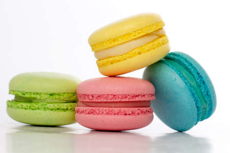 french bakery: Sweet and colourful french macaroons or macaron on white background, Dessert.