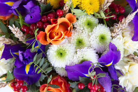 bunch of hearts: A bouquet of different flowers , background, closeup