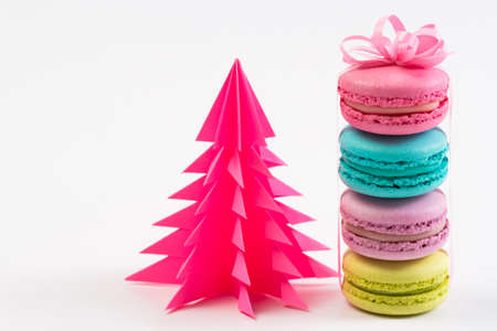 Sweet and colourful french macaroons or macaroons on white background, Dessert.