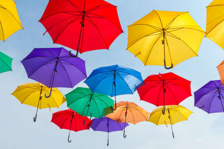 Bright colorful hundreds of umbrellas floating above the street. The city of Astana, Republic of Kazakhstan Banque d'images