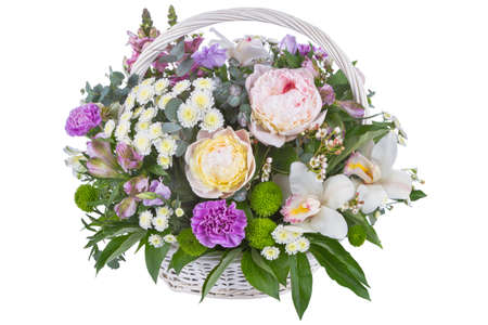 Isolated bouquet of bright flowers on a white background. Archivio Fotografico