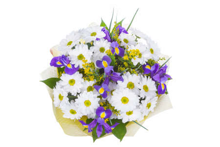 Isolated bouquet of bright flowers on a white background. Reklamní fotografie