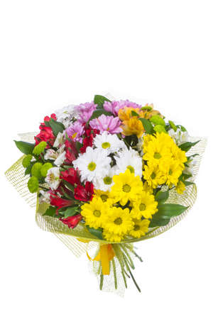 Isolated bouquet of bright flowers on a white background. Stock fotó