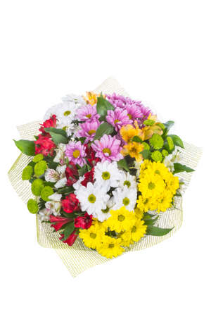 Isolated bouquet of bright flowers on a white background. Stockfoto