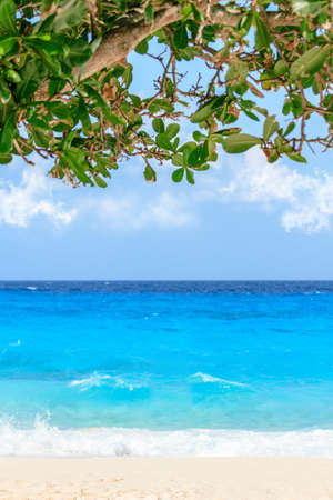 Beautiful beach. View of nice tropical beach with palms around. Holiday and vacation concept. Tropical beach. Stock Photo