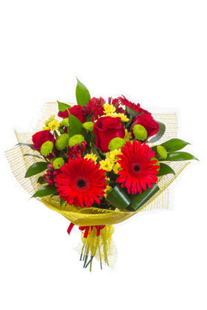 Isolated bouquet of bright flowers on a white background. Banque d'images