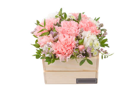 Isolated bouquet of bright flowers on a white background. 免版税图像