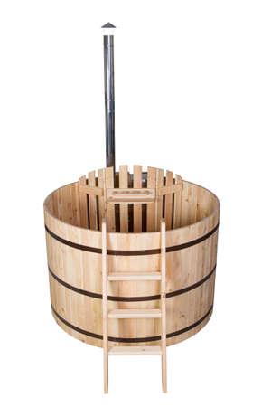 phyto barrel, Japanese bath on an isolated background Stock Photo