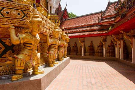 guarding a treasures of the gods and devouring greedy people. Pagoda called Chedi Futtnathambanlyue. Wat Bang Riang in Phang Nga. Thailand. Stock Photo