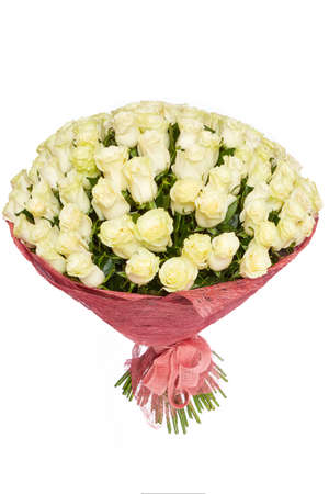 A bouquet of fresh white roses isolated on white background Stock Photo
