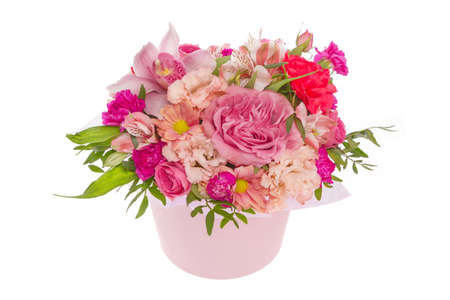 Fresh, lush bouquet of colorful flowers, isolated on white background.