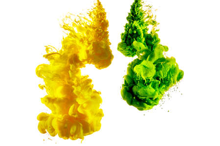 Isolated shot of a splash of green and yellow paint on a white background.