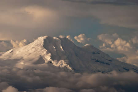 Aerial view of the Cotopaxi volcano at sunset photo