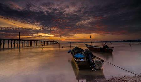 fine cane: Fisherman boat park after fishing