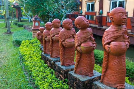 Statue novices of thailand. Stock Photo