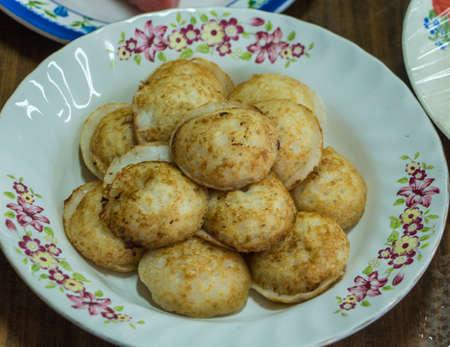 Coconut-rice pancakes is Thai Traditional Dessert. Stock Photo
