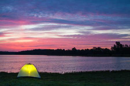 Lakeshore camp at dawn