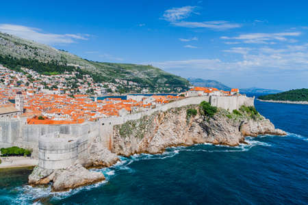 surrounding: Walls surrounding Dubrovnik Old Town Stock Photo