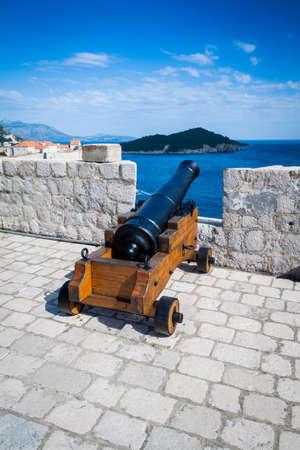defensive: A cannon on defensive walls of Fort Lovrijenac, Dubrovnik Stock Photo