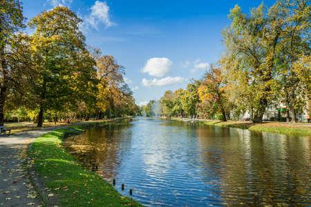 City park in autumn colors