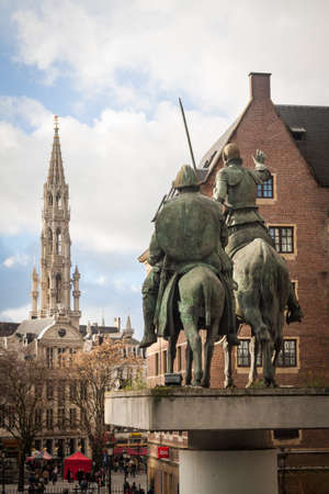 Don Quixote statue pointing to the Grand Place, Brussels Editorial