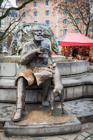 Charles Buls, former mayor of Brussels statue Stock Photo