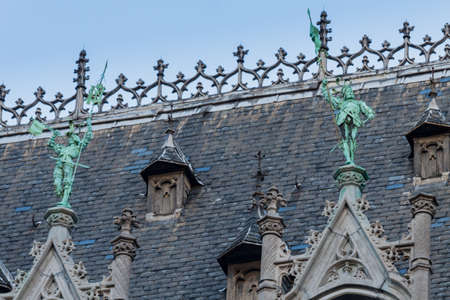 Rooftop statues in the Grand Place, Brussels Stock Photo