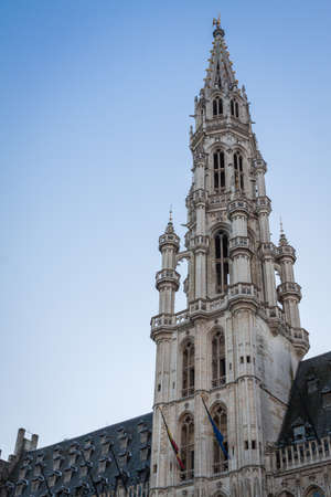 Town hall tower in the Grand Place, Brussels Stock Photo