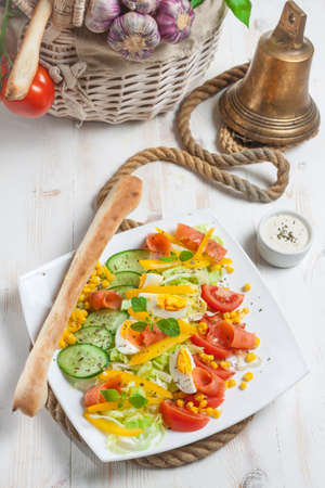 Fresh salad with breadstick - high angle view Stock Photo