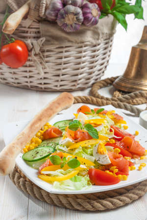 Vegetable salad served on sailing rope