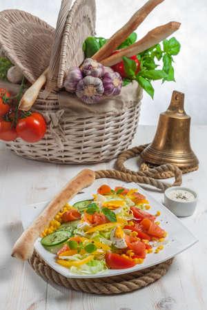 Vegetable salad on sailing rope - high angle view
