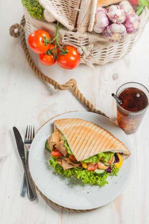 Kebab in grilled pita bread Stock Photo