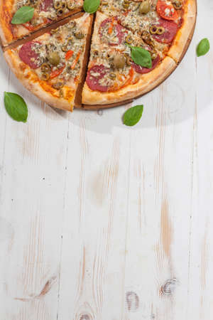 Pepperoni pizza background Stock Photo