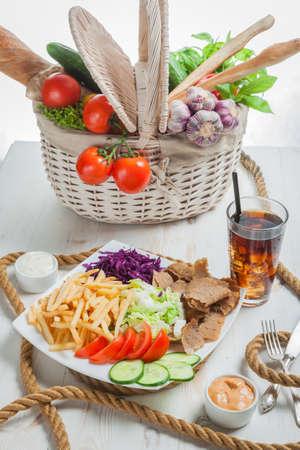 High angle view of kebab based meal