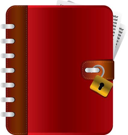 Diario di rosso con un lucchetto aperto