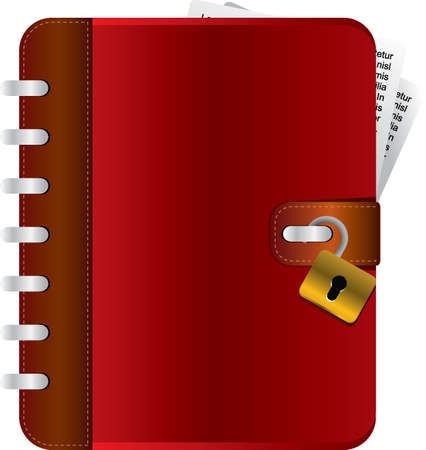 memoir: Red diary with an opened lock Illustration