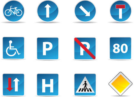 danger zone: Road signs set isolated in white background