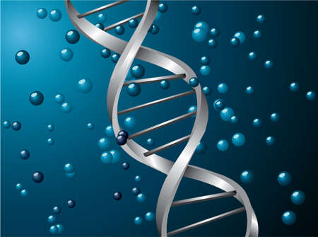 dna strand: Silver dns spiral with a blue background  Illustration