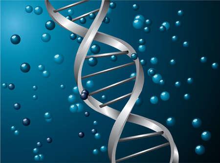 Zilveren DNS-spiraal met een blauwe achtergrond