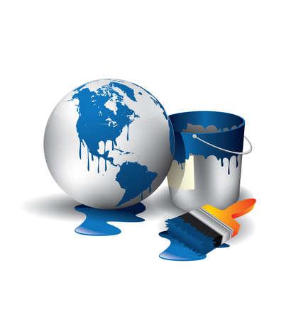 latas: Mundo pintado esfera azul y utiliza el pincel con pueden